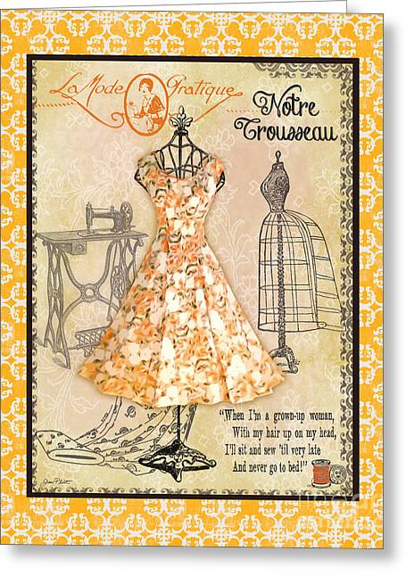 Boutique Art Greeting Cards - French Dress Shop-C1 Greeting Card by Jean Plout