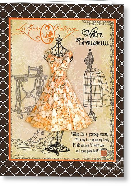 Boutique Art Greeting Cards - French Dress Shop-C2 Greeting Card by Jean Plout