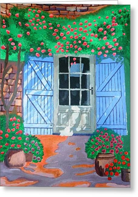 French Farm Yard Greeting Card by Magdalena Frohnsdorff