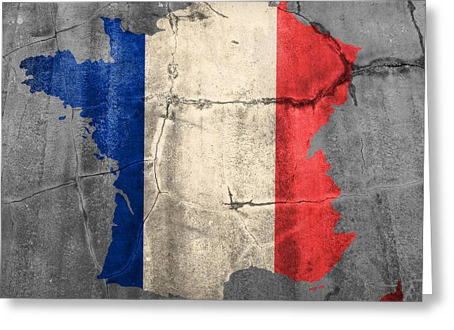 French Flag Greeting Cards - French France Flag Country Outline Painted on Old Cracked Cement Greeting Card by Design Turnpike