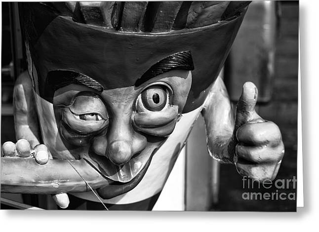 French Photographer Greeting Cards - French Fries are Good mono Greeting Card by John Rizzuto