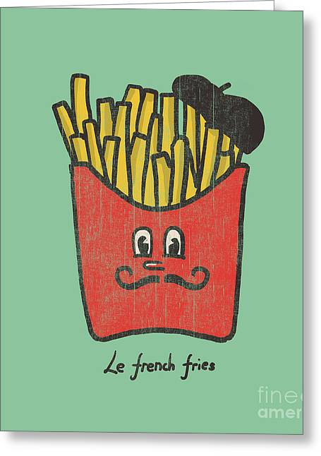 Cute Digital Art Greeting Cards - French Fries Greeting Card by Budi Kwan