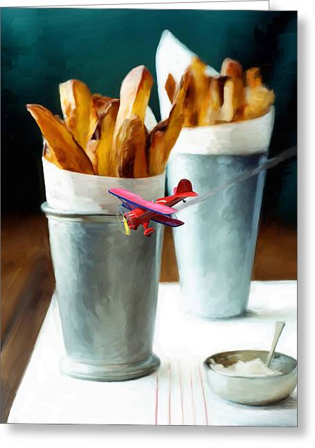 Fries Greeting Cards - French Fries Fly-By Greeting Card by Snake Jagger