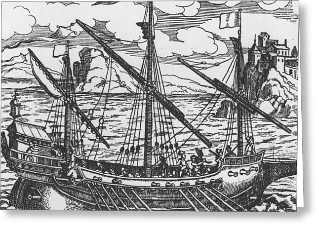 Seascape Drawings Greeting Cards - French galley operating in the ports of the Levant since Louis XI  Greeting Card by French School
