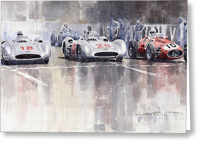 Racing Car Greeting Cards - French GP 1954 MB W 196 Meserati 250 F Greeting Card by Yuriy  Shevchuk
