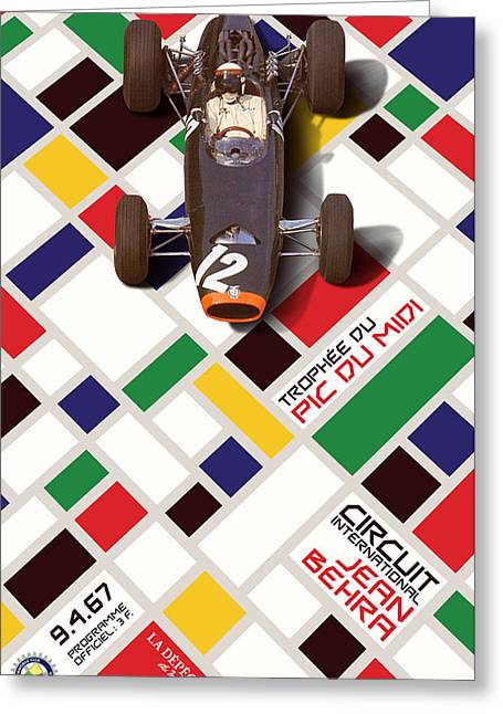 Midi Greeting Cards - French Grand Prix 1967 Circuit Jean Behra Greeting Card by John Bradley