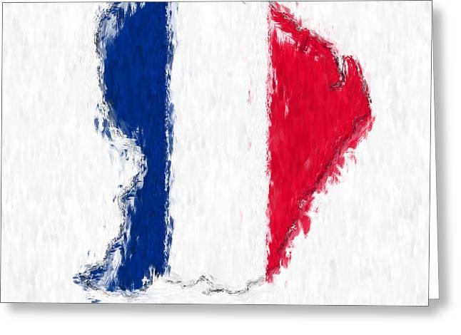Dap Greeting Cards - French Guiana Painted Flag Map Greeting Card by Antony McAulay