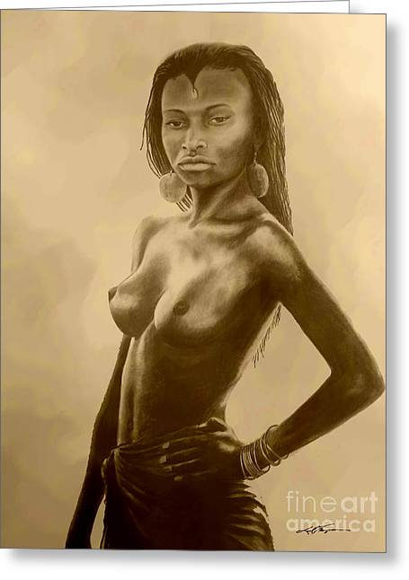 Indigenous Drawings Greeting Cards - French Guinea Girl Greeting Card by Joel Thompson