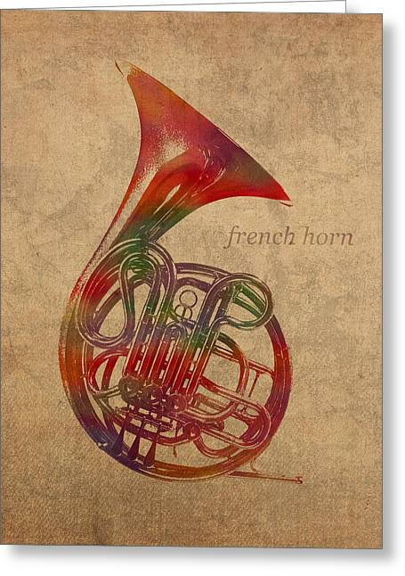 French Horn Brass Instrument Watercolor Portrait On Worn Canvas Greeting Card by Design Turnpike