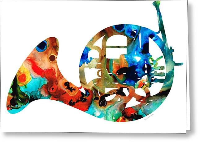 Prints For Sale Paintings Greeting Cards - French Horn - Colorful Music by Sharon Cummings Greeting Card by Sharon Cummings