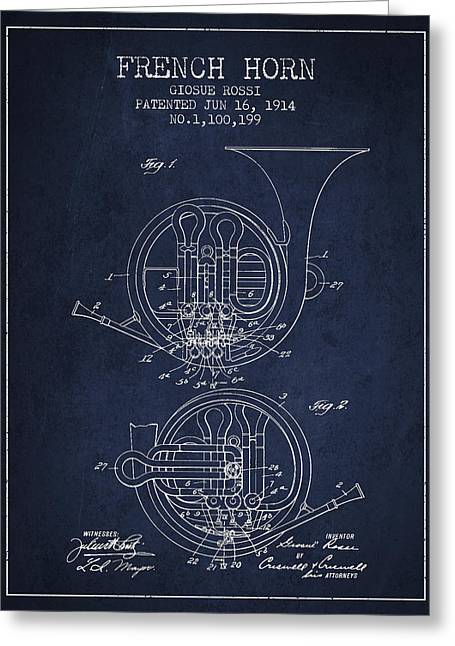 Exclusive Greeting Cards - French Horn Patent from 1914 - Blue Greeting Card by Aged Pixel