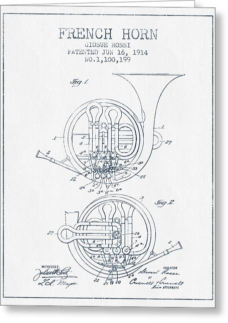 Ink Drawing Greeting Cards - French Horn Patent from 1914 - Blue Ink Greeting Card by Aged Pixel