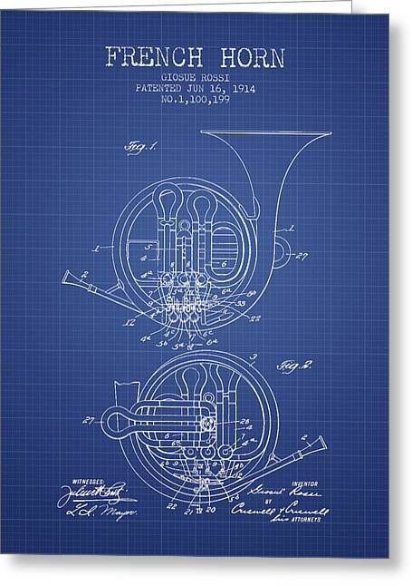 Horns Greeting Cards - French Horn Patent from 1914 - Blueprint Greeting Card by Aged Pixel
