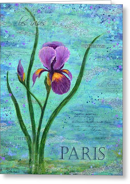 Layers Greeting Cards - French Iris Greeting Card by Carla Parris