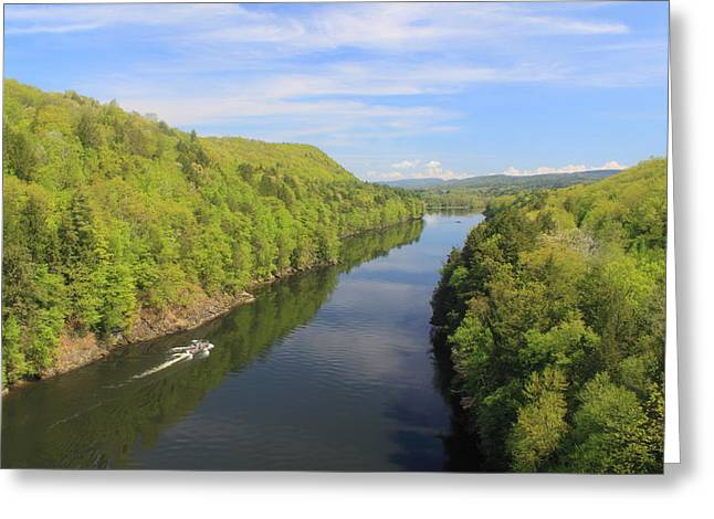 Connecticut River Greeting Cards - French King Gorge Connecticut River Spring Boater Greeting Card by John Burk