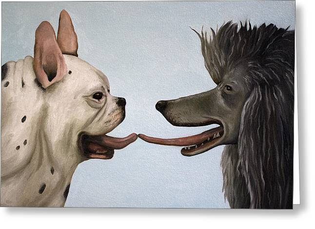 Doggy-style Greeting Cards - French Kiss Greeting Card by Leah Saulnier The Painting Maniac