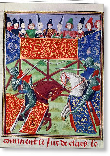 French Knights Jousting Greeting Card by British Library