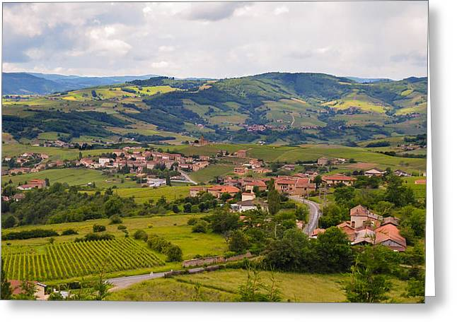 Oingt France Greeting Cards - French Landscape 2 Greeting Card by Allen Sheffield