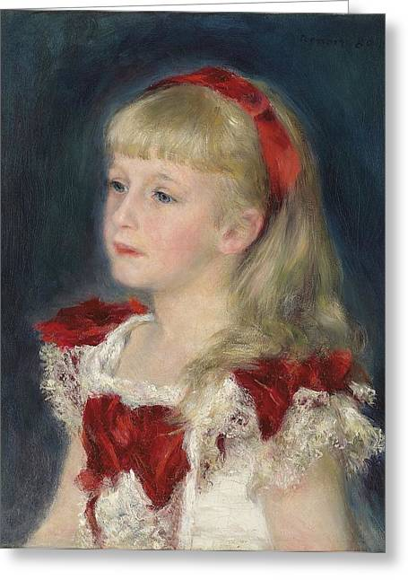 Renoir Photographs Greeting Cards - French Little Girl Art Painting Print Renoir Greeting Card by Nomad Art And  Design