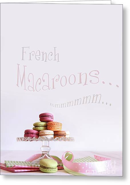 French Macaroons On Dessert Tray Greeting Card by Sandra Cunningham