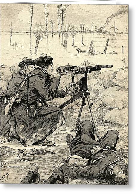 Wwi Photographs Greeting Cards - French Machine Gun Team At The Battle Of The Yser, Belgium, 1915 During World War One. From Agenda Greeting Card by Bridgeman Images