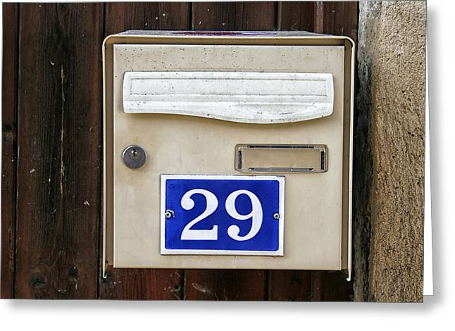 French Doors Greeting Cards - French Mailbox Number 29 Greeting Card by Nomad Art And  Design