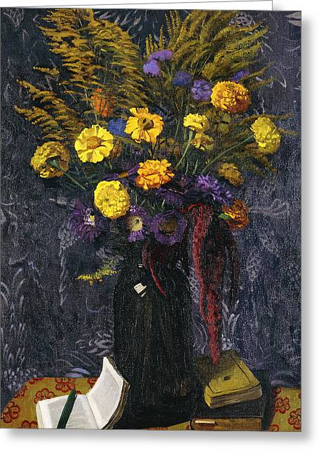 French Marigold Purple Daisies And Golden Sheaves Greeting Card by Felix Edouard Vallotton