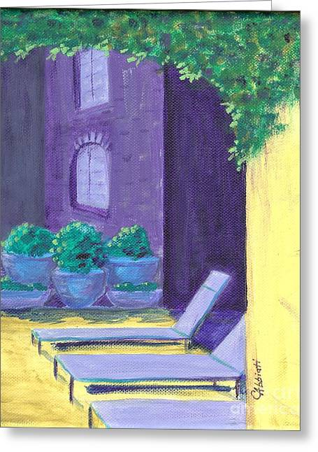 Lounge Paintings Greeting Cards - French Market Inn NOLA Greeting Card by Cheryl Abbiati