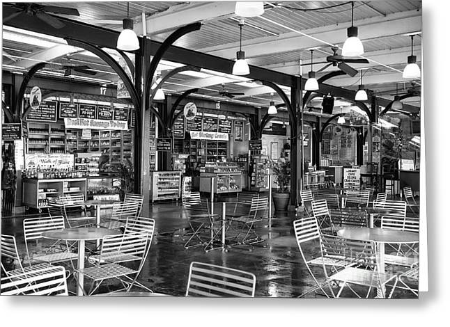 French Photographer Greeting Cards - French Market Lights mono Greeting Card by John Rizzuto