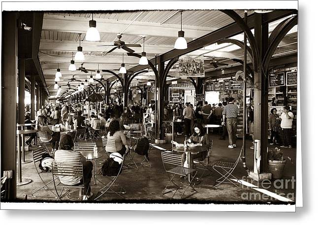 French Photographer Greeting Cards - French Market Lunch Greeting Card by John Rizzuto