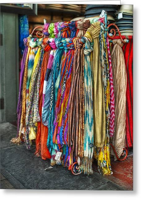 Apparel Greeting Cards - French Market Scarves Greeting Card by Brenda Bryant