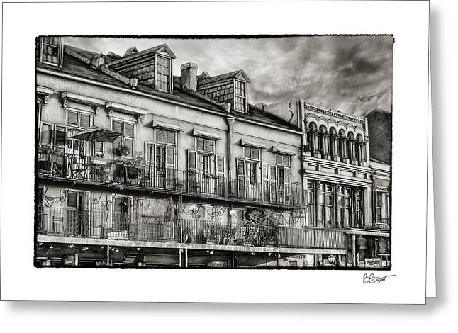 French Doors Greeting Cards - French Market View in Black and White Greeting Card by Brenda Bryant
