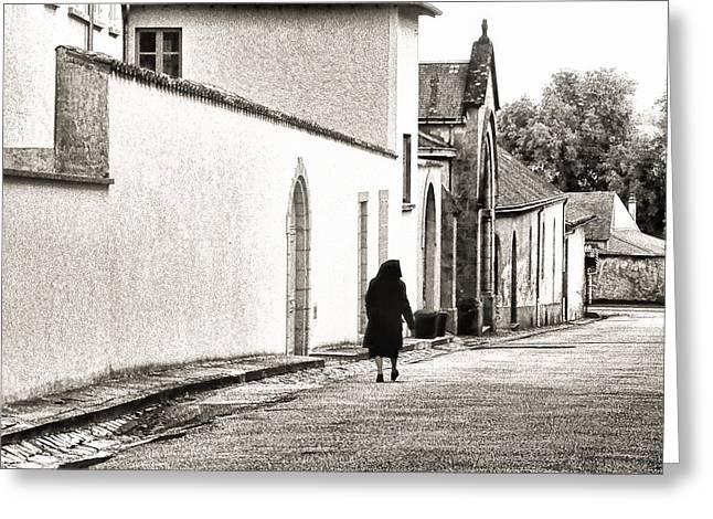 French Doors Greeting Cards - French Nun Walking Home Greeting Card by Menega Sabidussi