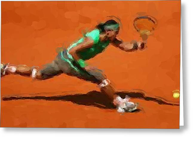 Forehand Greeting Cards - French Open return Greeting Card by Brian Menasco