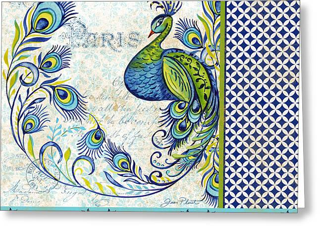 Nature Study Greeting Cards - French Peacock-e Greeting Card by Jean Plout