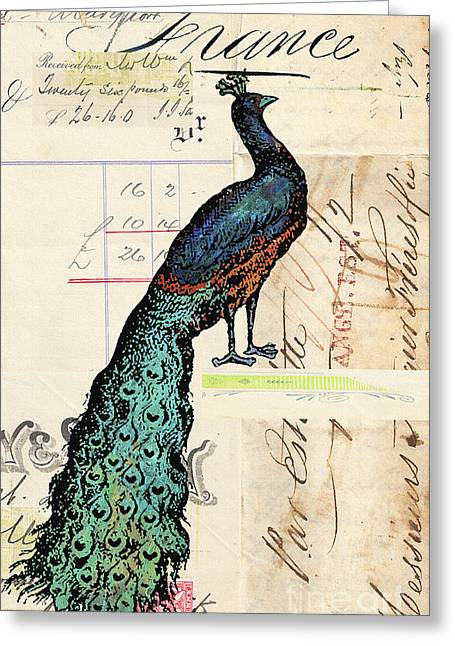 Love Letter Mixed Media Greeting Cards - French Peacock Vintage Script Art Print Greeting Card by ArtyZen Studios - ArtyZen Home