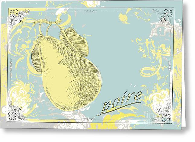 French Pears Greeting Cards - French Pear Yellow Teal Art Greeting Card by ArtyZen Studios