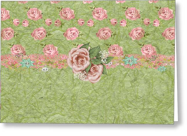 Babies Breath Greeting Cards - French Pink Roses Greeting Card by Debra  Miller
