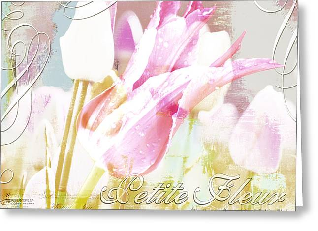 Pink Flower Prints Mixed Media Greeting Cards - French Pink Tulip Garden Greeting Card by AdSpice Studios