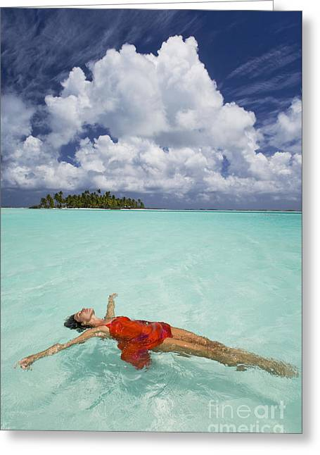 French Polynesia Woman Floating Greeting Card by M Swiet Productions
