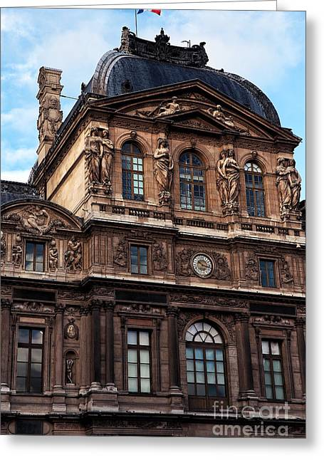 French Flag Greeting Cards - French Pride at the Louvre Greeting Card by John Rizzuto