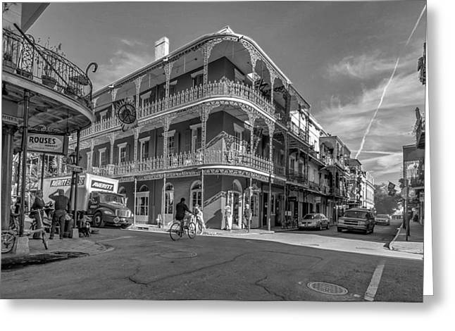 Artistic Photography Greeting Cards - French Quarter Afternoon bw Greeting Card by Steve Harrington