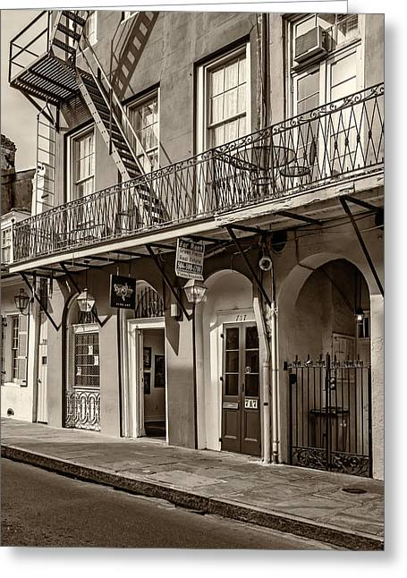 French Door Greeting Cards - French Quarter Art and Artistry sepia Greeting Card by Steve Harrington