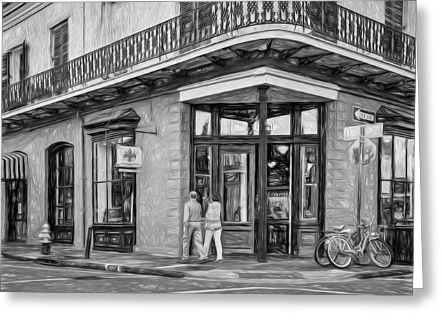 D.w Greeting Cards - French Quarter Art - Paint BW Greeting Card by Steve Harrington