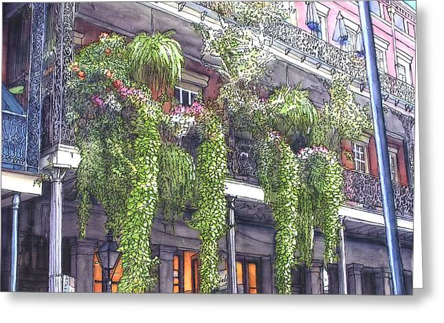 French Doors Greeting Cards - French Quarter Balcony 379 Greeting Card by John Boles