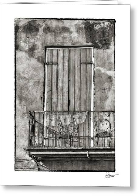 French Door Greeting Cards - French Quarter Balcony in Black and White Greeting Card by Brenda Bryant