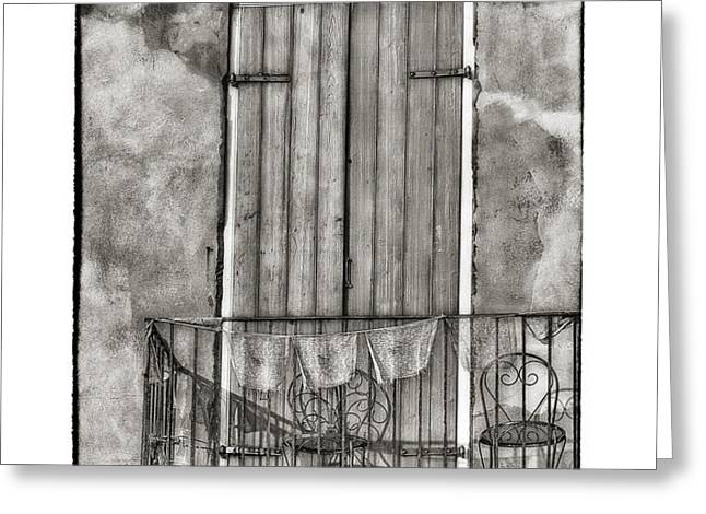 French Quarter Balcony in Black and White Greeting Card by Brenda Bryant