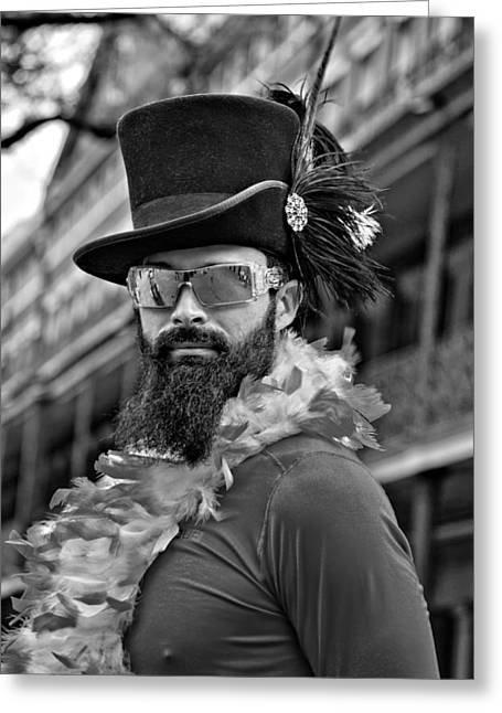 White Beard Greeting Cards - French Quarter Camouflage 2 bw Greeting Card by Steve Harrington