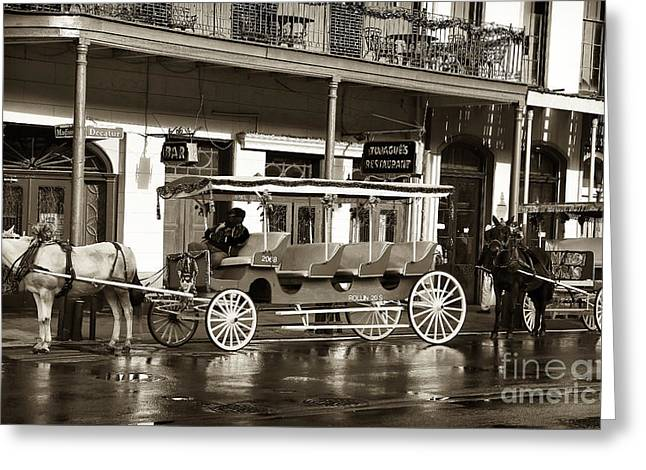 French Photographer Greeting Cards - French Quarter Carriage Greeting Card by John Rizzuto