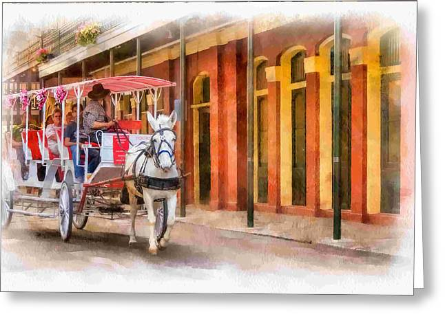 French Door Greeting Cards - French Quarter Carriage Ride 3 Greeting Card by Steve Harrington